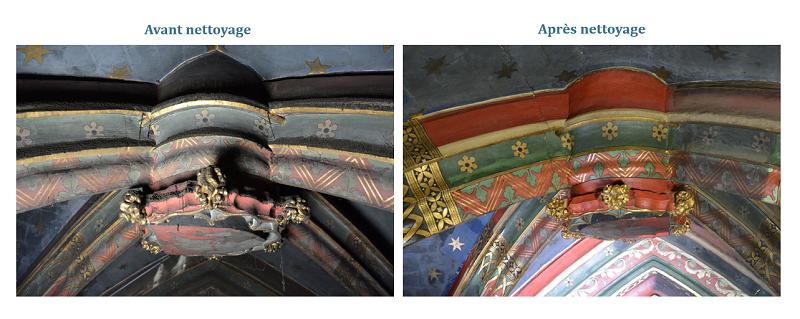 Détail de la chapelle Sainte Geneviève avant et après nettoyage