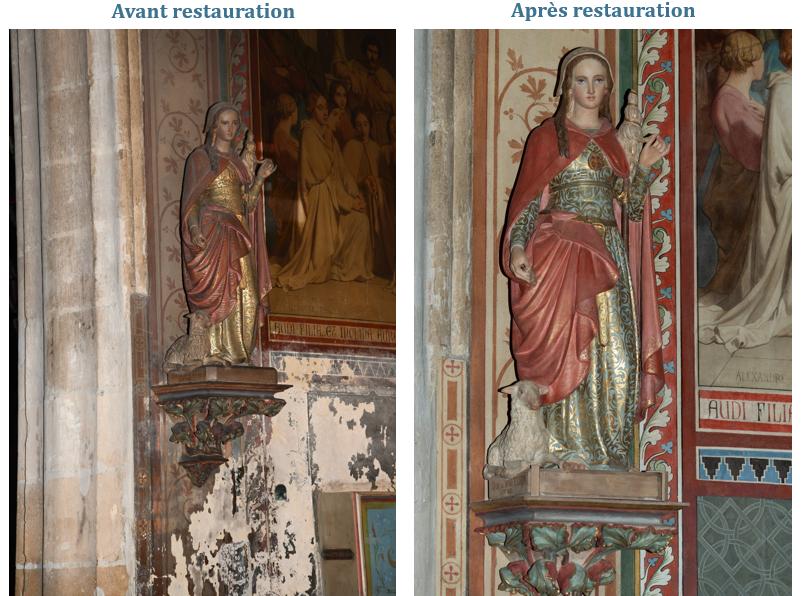 Statue de Sainte Geneviève avant et après restauration