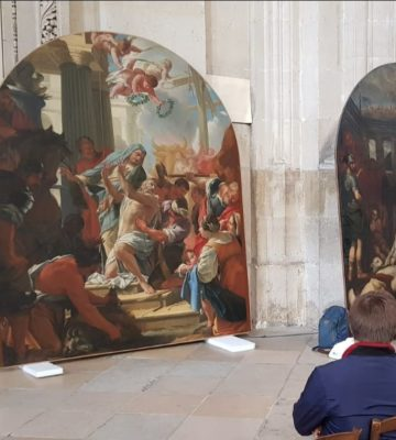 Visioconférence autour de la restauration de 6 tableaux de l'église Saint-Eustache (Ier)