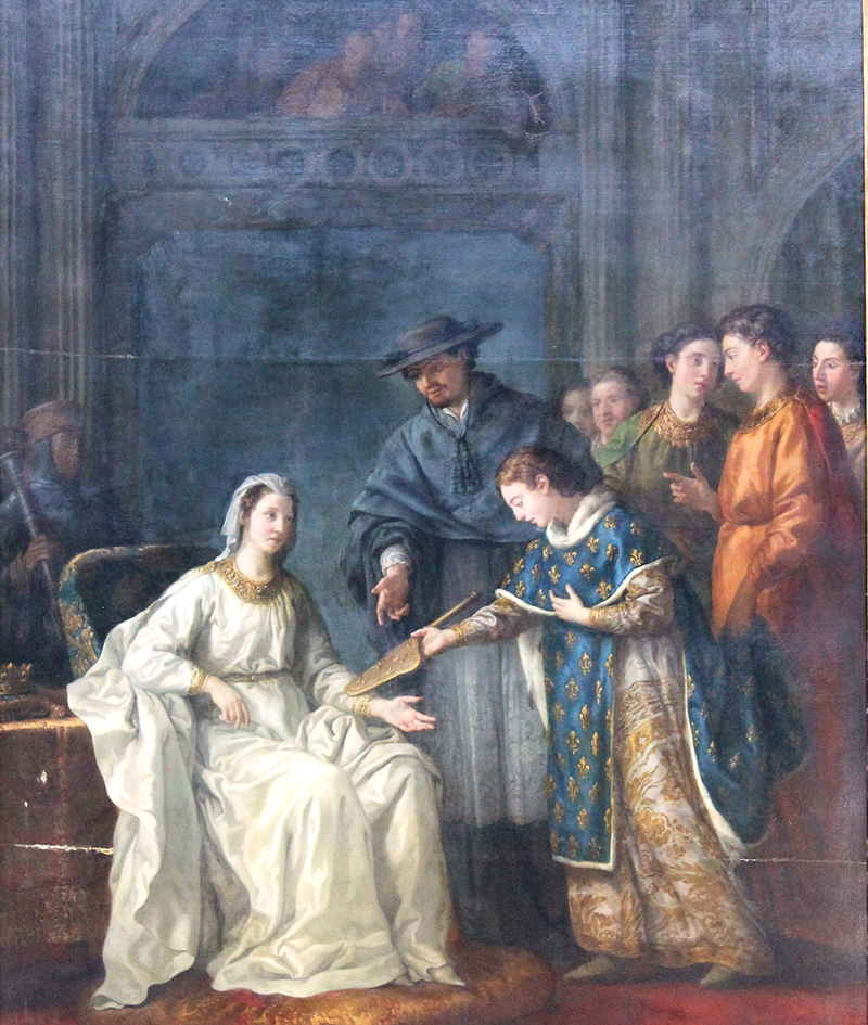 Saint Louis remet à la reine, sa mère, la régence - de Joseph-Marie Vien