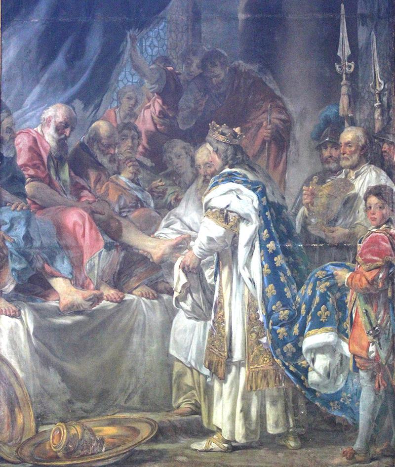 Saint Louis lavant les pieds des pauvres - de Louis Durameau